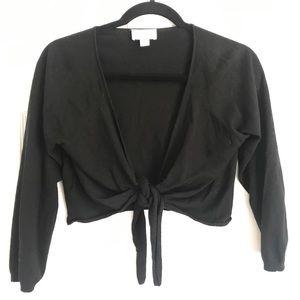 Ann Taylor Loft Black 3/4 sleeve tie cardigan